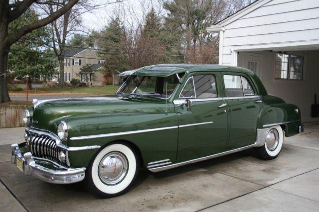 1950 Desoto 4 Door Custom Fluid Drive Green White Wall