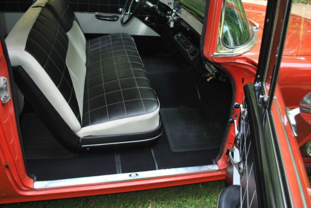 1955 chevrolet 210 post delray gypsy red india ivory black white interior for sale in. Black Bedroom Furniture Sets. Home Design Ideas
