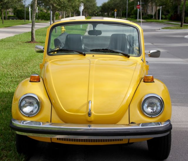 volkswagen super beetle convertible 1975 yellow w black top and tweed interior for sale in. Black Bedroom Furniture Sets. Home Design Ideas